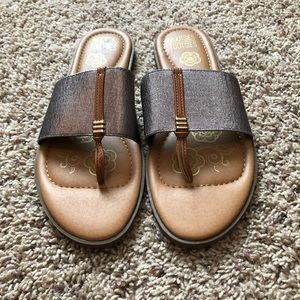 Never Worn Pewter Gray and Brown Sandals